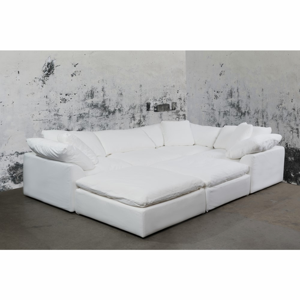 Sunset Trading - Cloud Puff 6 Piece Slipcovered Modular Pitt Sectional Sofa  Performance White - SU-1458-81-3C-1A-2O