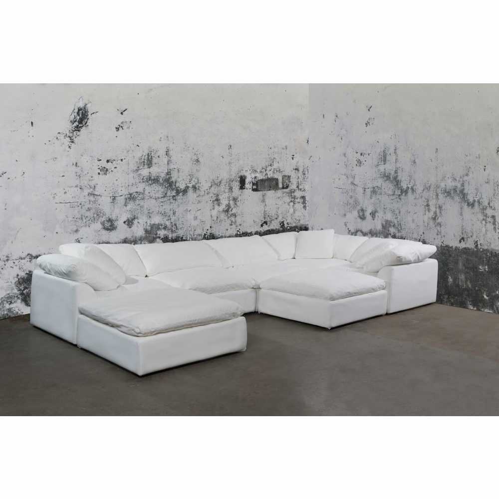 Sunset Trading - Cloud Puff 7 Piece Slipcovered Modular Sectional Sofa With  Ottomans Performance White - SU-1458-81-3C-2A-2O