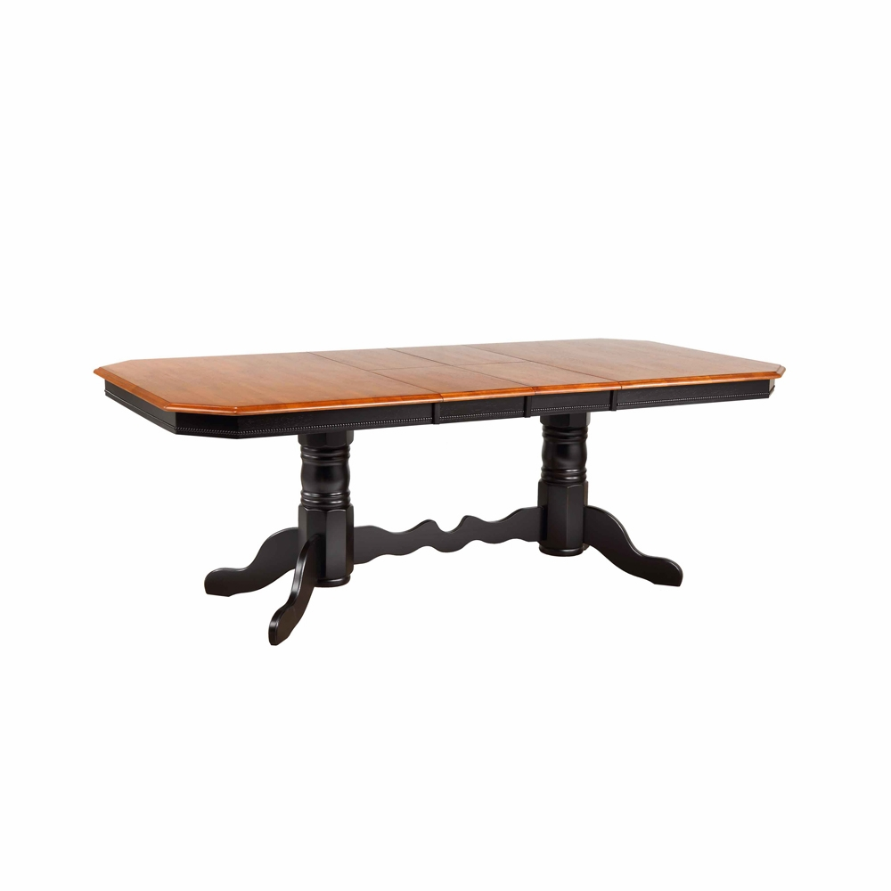 Sunset Trading Double Pedestal Trestle Dining Table In Antique Black With Cherry Finish Erfly Top Dlu Tcp4284 Bch