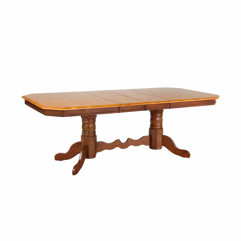 Sunset Trading Double Pedestal Trestle Dining Table In Nutmeg With Light Oak Finish Erfly Top Dlu Tcp4284 Nlo