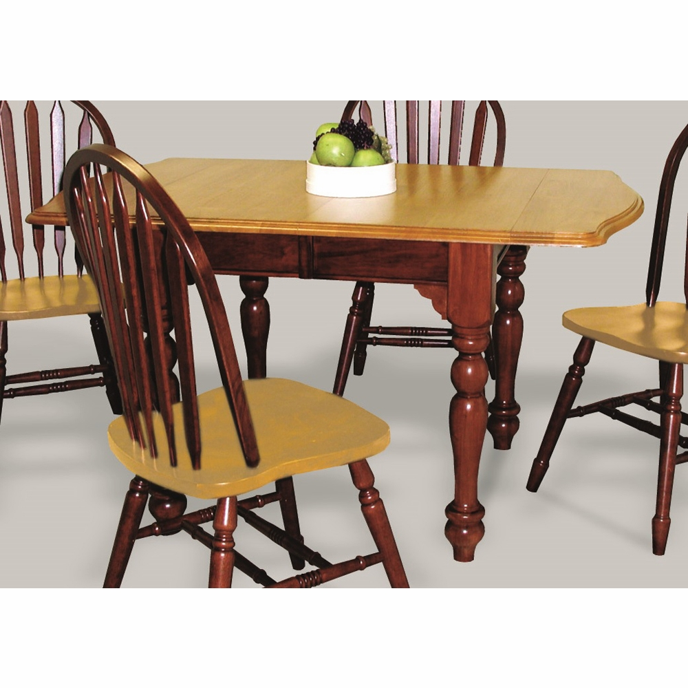 Sunset Trading Drop Leaf Extension Dining Table In Nutmeg With Light Oak Finish Top Dlu Tdx3472 Nlo