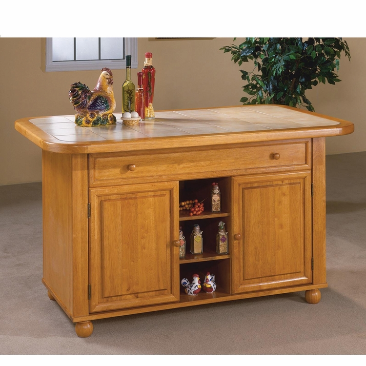Sunset Trading - Light Oak Finish Kitchen Island with Beige Khaki Tile Top - CY-KITT02-LO
