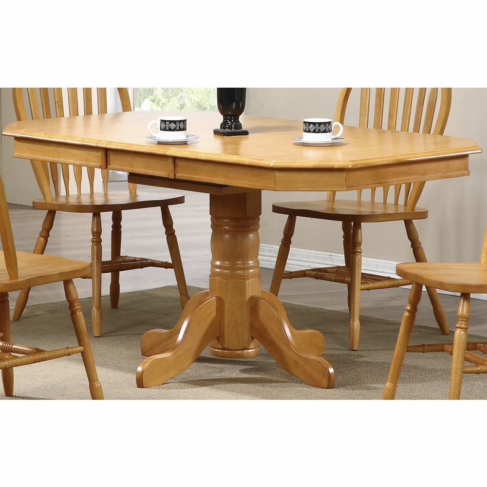 Table Chene Clair Avec Rallonge: Pedestal Extension Dining Table In Light