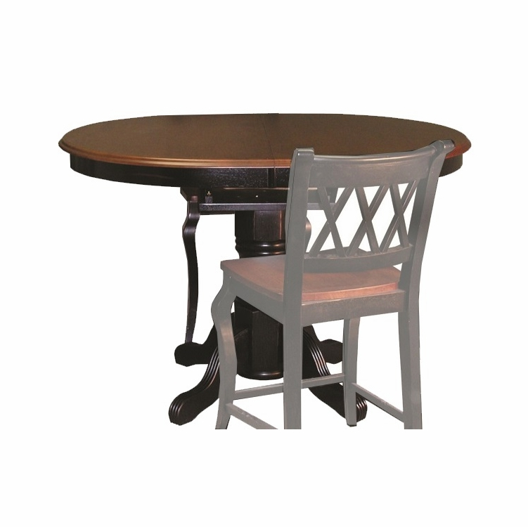 Sunset Trading Pedestal Pub Table In Antique  Black Base With Cherry Finish Butterfly Top Dlu Tbx4266cb Bch 11