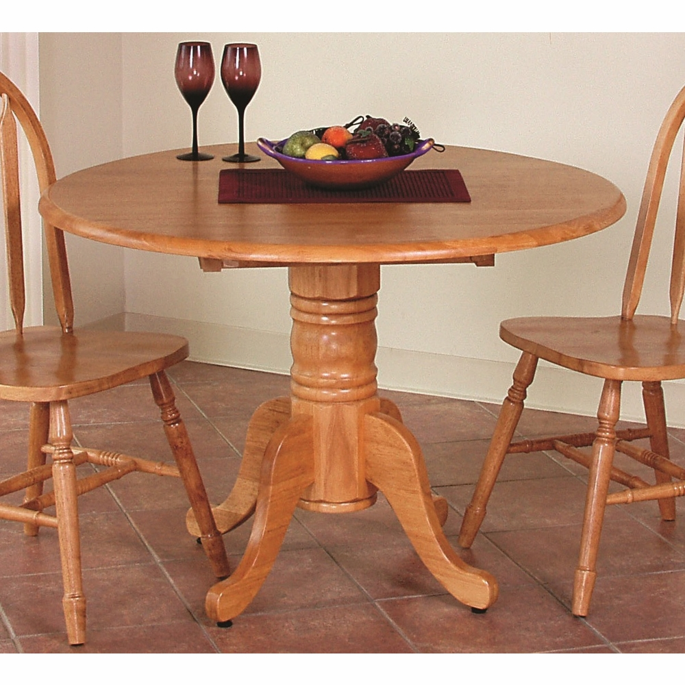 Sunset Trading Round Drop Leaf Dining Table In Light Oak Finish Dlu Tpd4242 Lo