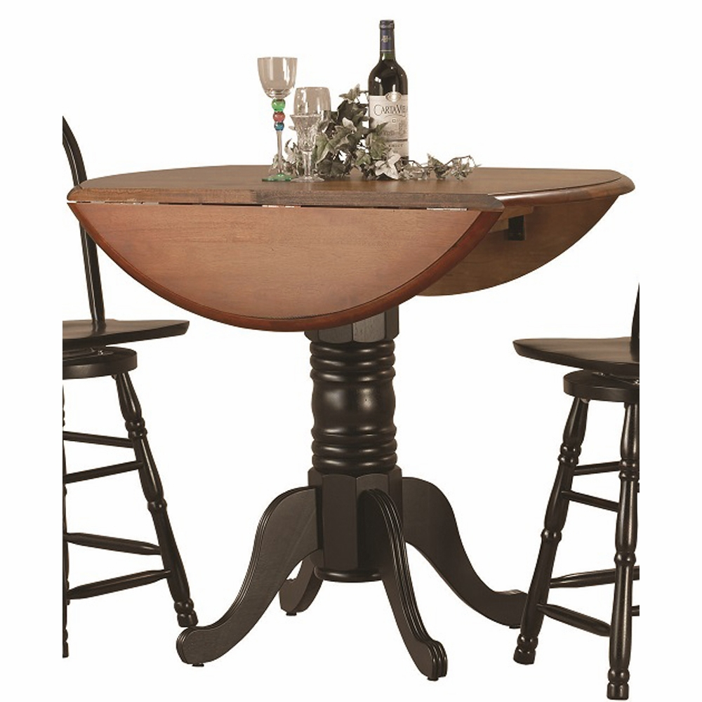 Sunset Trading Round Drop Leaf Pub Table In Antique Black With