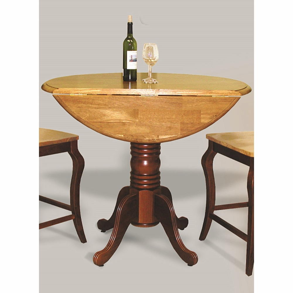 sunset trading round drop leaf pub table in nutmeg with light oak finish top dlu tpd4242cb nlo. Black Bedroom Furniture Sets. Home Design Ideas
