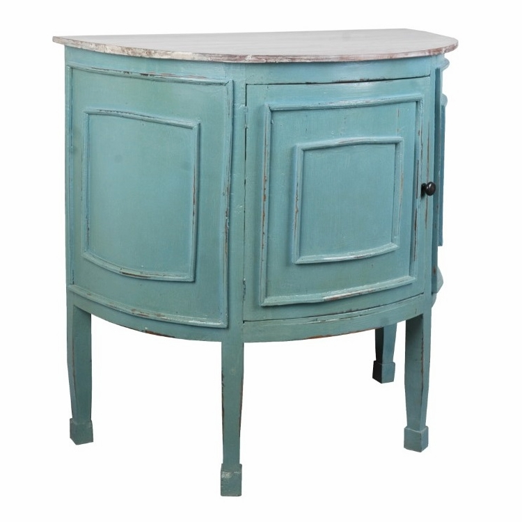 Sunset Trading - Shabby Chic Cottage Half Round Cabinet - CC-CHE090TLD-BBLW