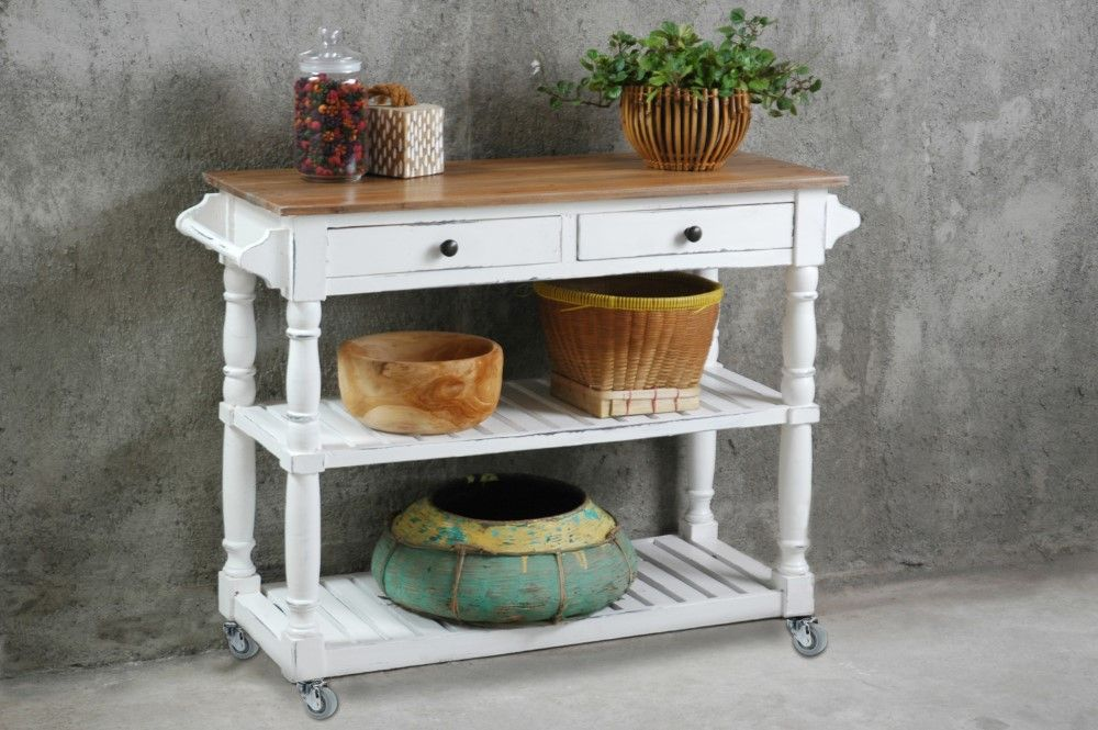 Sunset Trading - Shabby Chic Cottage Kitchen Island With Casters White  Sideboard Kitchen Cart - CC-TAB192TLD-WWCFSV