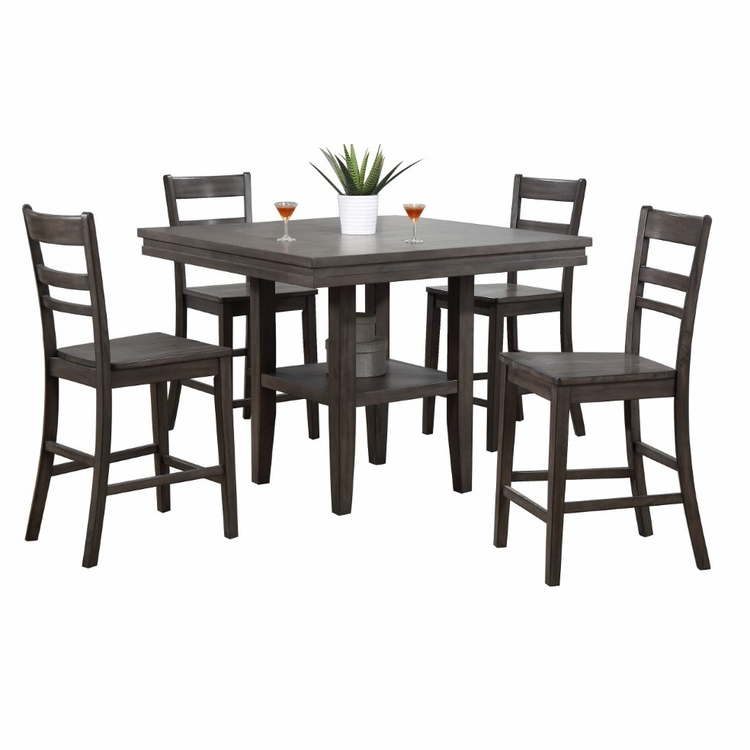 Sunset Trading - Shades Of Gray 5 Piece Square Pub Table Set With Storage Shelf - DLU-EL4545C-B200-5PC