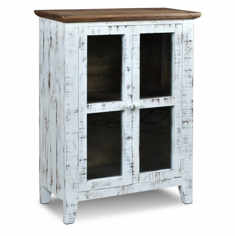 Sunset Trading - Simply Rustic Distresssed White Curio Cabinet Walnut Top - HH-3450-032