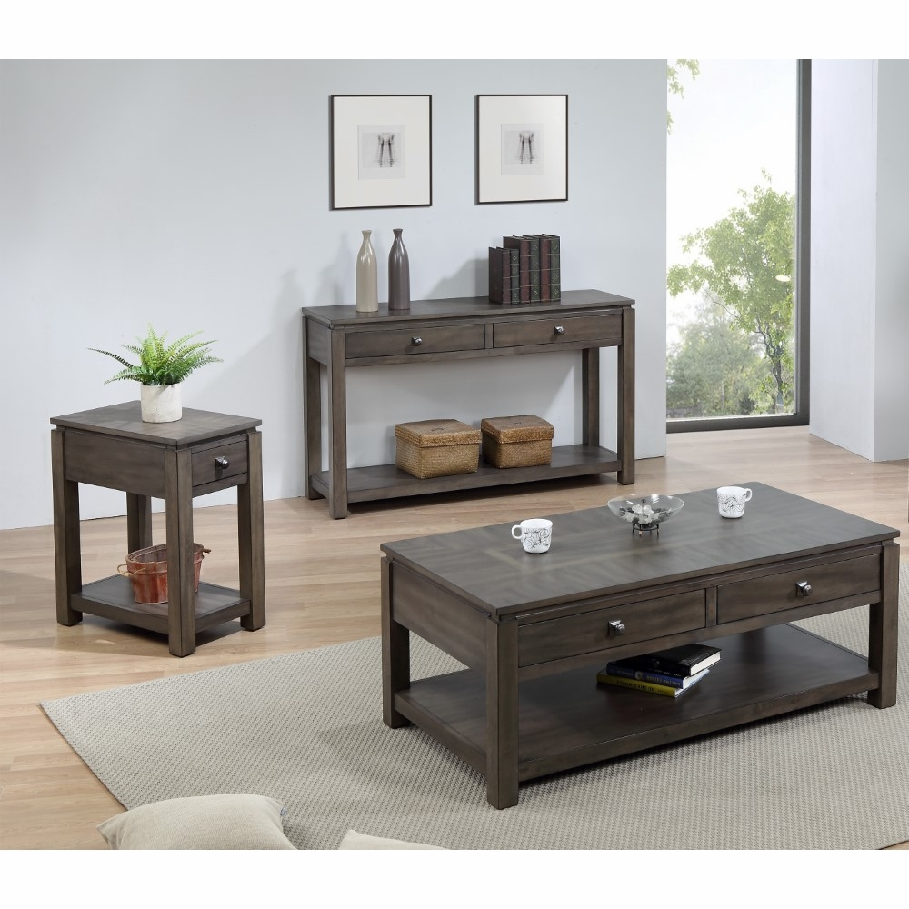sunset tradingshades of gray 3 piece living room table set