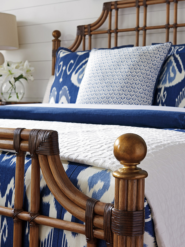 Tommy Bahama Home Twin Palms St Kitts Queen Rattan Bed