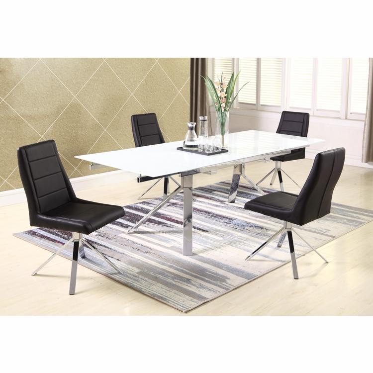 Chintaly - Dana 5 Pieces Dining Set Table With 4 Side Chairs In Black - DANA-5PC-BLK