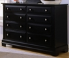 Vaughan Bassett - Cottage Double Dresser 6 Drawers In Black - BB16-001