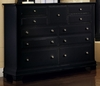 Vaughan Bassett - Cottage Triple Dresser 9 Drawers In Black - BB16-002