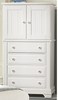Vaughan Bassett - Cottage Vanity Chest 2 Doors 4 Drwrs 1 Adj Shelf In Snow White - BB24-116