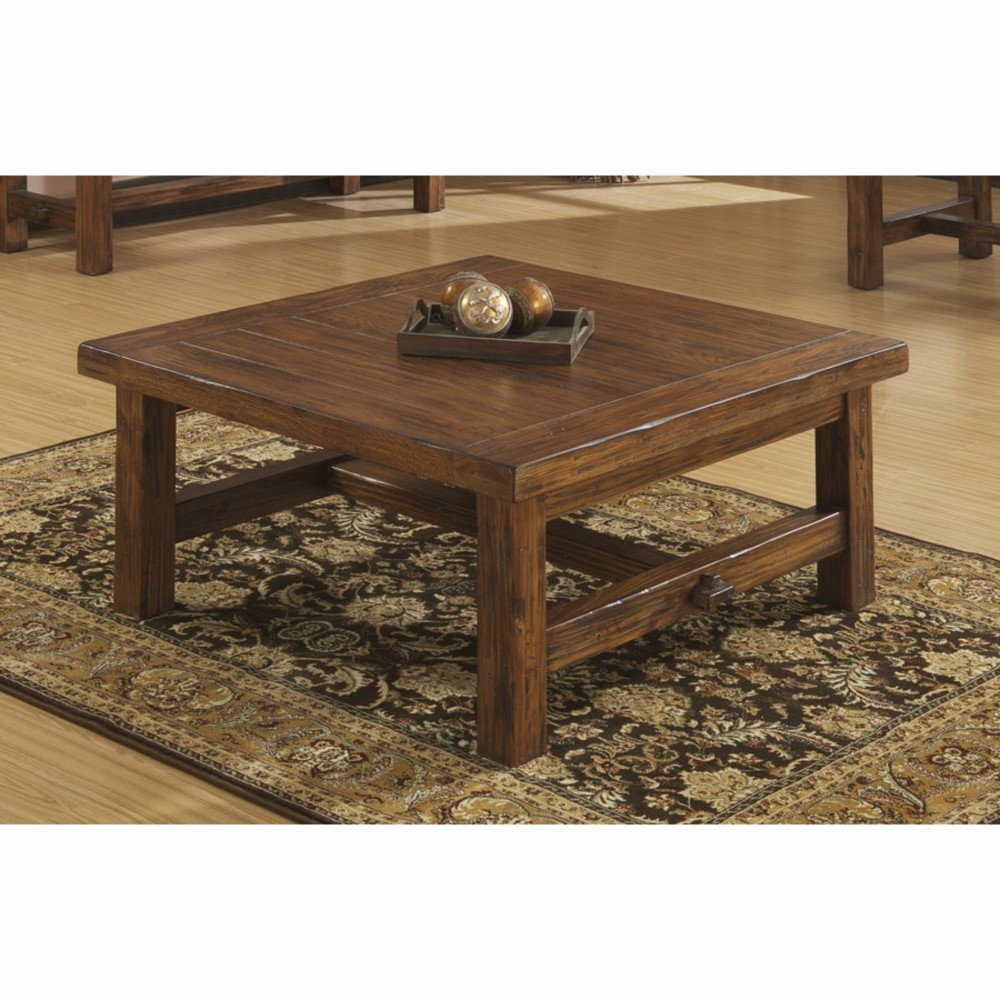 Wallace Bay Dodson Brindled Pine 40 Square Coffee Table With Plank Style Top And Straight Timber Legs T510241