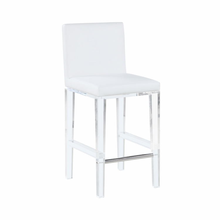Awe Inspiring Chintaly Yasmin Counter Stool With Solid Acrylic Legs In White Yasmin Cs Wht Lamtechconsult Wood Chair Design Ideas Lamtechconsultcom