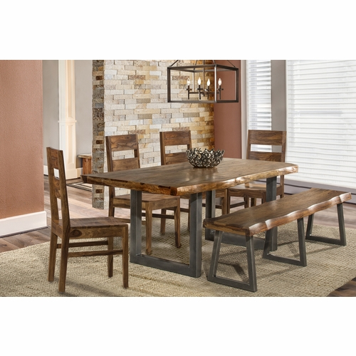 Hillsdale - Emerson 6 Piece Rectangle Dining Set One 1 Bench And Four Wood Chairs Natural Sheesham - 5674DTBHCW