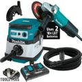 "Makita 9558PB 7.5A 5"" Angle Grinder w/Paddle + Dust Guard and HEPA Vac"