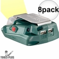 Metabo 600288000-8 Battery Adaptor w/ 2x USB ports +Built-In LED Flash Light