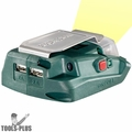 Metabo 600288000 Battery Adaptor w/ 2x USB ports + Built-In LED Flash Light