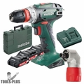 """Metabo US602217620 18V 3/8"""" Drill/Driver 3x 2Ah Batts+Charger+RA Attachment"""