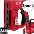 "Milwaukee 2447-21 3x M12 3/8"" Cordless Crown Stapler Kit"