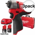 "Milwaukee 2452-22 3x M12 FUEL 1/4"" Impact Wrench Kit"