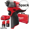 "Milwaukee 2452-22 5x M12 FUEL 1/4"" Impact Wrench Kit"