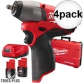 "Milwaukee 2454-22 4x M12 FUEL 3/8"" Impact Wrench Kit"