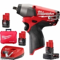 "Milwaukee 2454-22 M12 FUEL 3/8"" Impact Wrench 3 Battery Kit w/1x 6.0ah"
