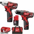 Milwaukee 2497-22 M12 12V Li-Ion Cordless Hammer Drill/Impact Kit w/3 Batts