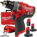 "Milwaukee 2503-22 M12 FUEL 1/2"" Drill Driver w/ 3 Batts+Charger Kit"