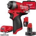 "Milwaukee 2552-22 M12 FUEL Stubby Cordless 1/4"" Impact Wrench w/2 Batteries"