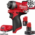 "Milwaukee 2552-22 M12 FUEL Stubby Cordless 1/4"" Impact Wrench w/2 Batteries 2x"