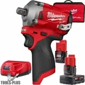 "Milwaukee 2555P-22 M12 FUEL Stubby 1/2"" Pin Detent Impact Wrench Kit"