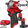 "Milwaukee 2555P-22 M12 FUEL Stubby 1/2"" Pin Detent Impact Wrench Kit 2x"