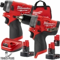 "Milwaukee 2598-22 M12 FUEL 1/2"" Hammer Drill + 1/4"" Hex Impact 3 Batt Kit"
