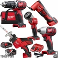 Milwaukee 2694-25CX M18 18V Li-Ion 5pc Cordless Combo Kit w/3Ah +1.5Ah Batts