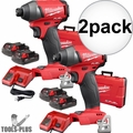 "Milwaukee 2753-22CT M18 Gen2 FUEL 1/4"" Hex Impact Driver Kit w/ 2Ah Batts 2x"