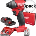"Milwaukee 2753-22CT M18 Gen2 FUEL 1/4"" Hex Impact Driver Kit w/ 2Ah Batts 3x"