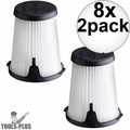 Milwaukee 49-90-1950 2pk HEPA Filter Replacement for 0850-20 Compact VAC 8x