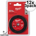 "Milwaukee 49-94-3000 3"" Metal Cut Off Wheel 12x 3pk"