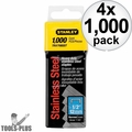 """Stanley TRA708SST 1000 Pack 1/2"""" Stainless Steel Narrow Crown Staples 4x"""