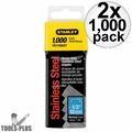 """Stanley TRA708SST 1000 Pack 1/2"""" Stainless Steel Narrow Crown Staples 2x"""