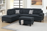 Black Fabric Sectional Sofa and Ottoman