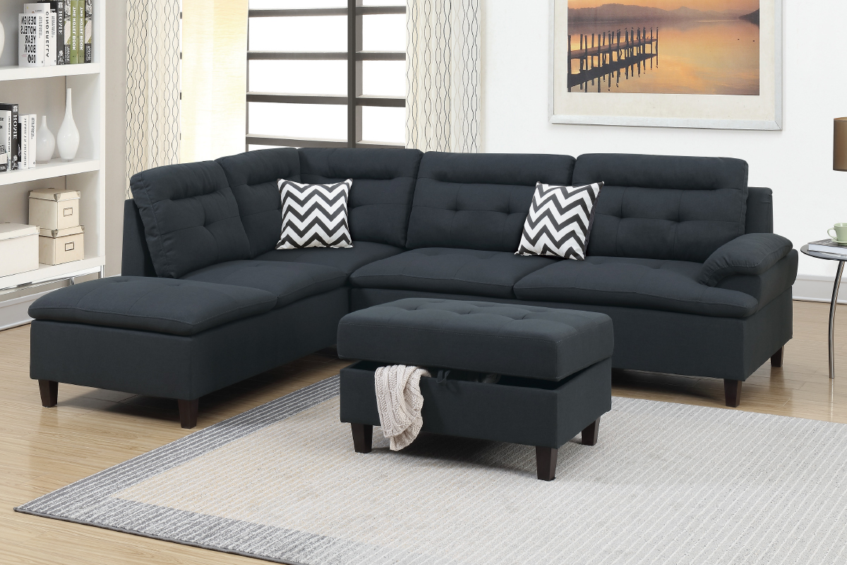 Black Fabric Sectional Sofa And Ottoman Steal A Sofa