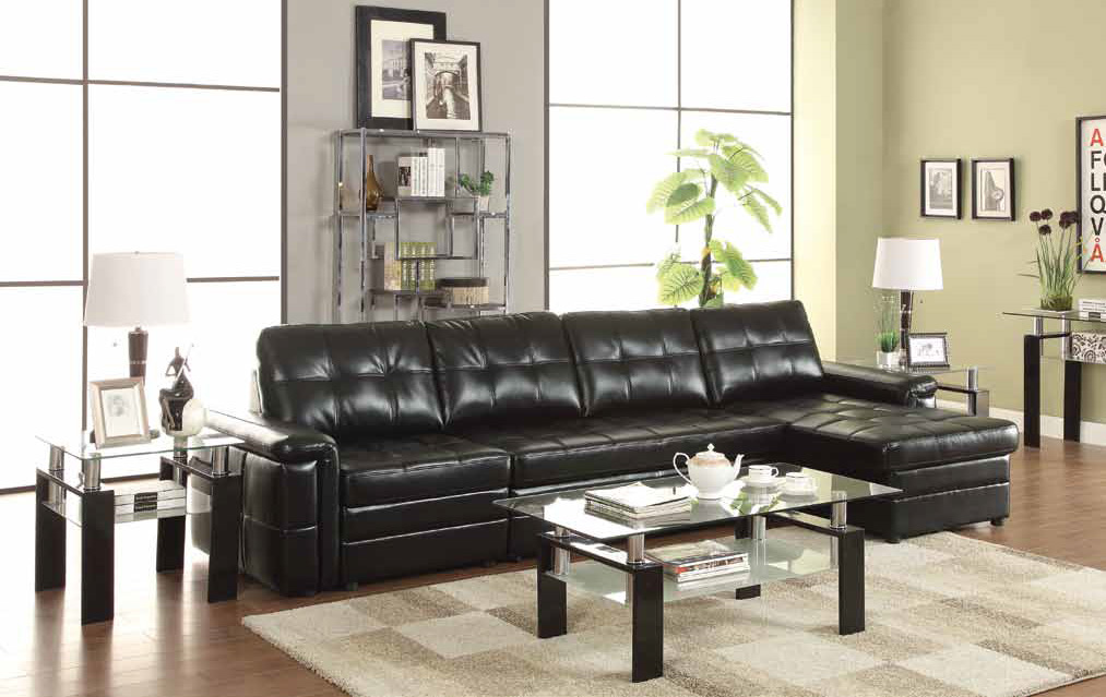 Black Leather Sectional Sleeper Sofa - Steal-A-Sofa Furniture Outlet ...